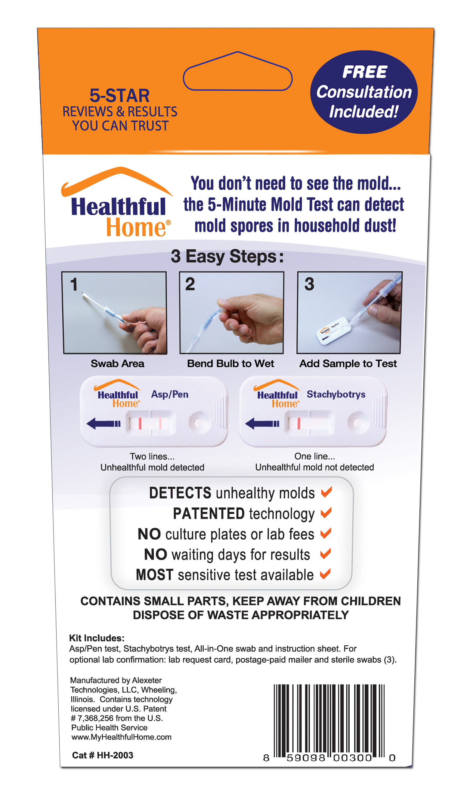 5-minute mold test kit box back